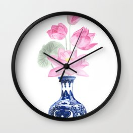 Lotos flower painting Wall Clock