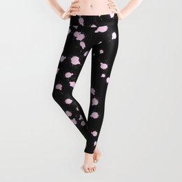 Abstract Modern Black Pink Watercolor Splatters Leggings