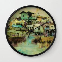 Drifting Along Tonle Sap River, Cambodia Wall Clock