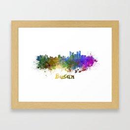 Busan skyline in watercolor Framed Art Print