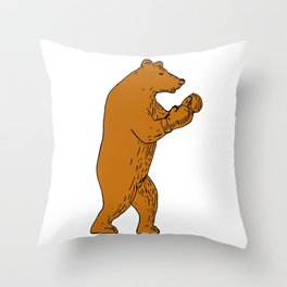 Brown Bear Boxing Stance Drawing Throw Pillow