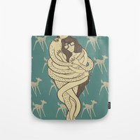 bambi Tote Bags featuring Bambi by Shirley Hernandez