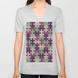Jigsaw Puzzle Pieces Lilac Pattern Unisex V-Neck