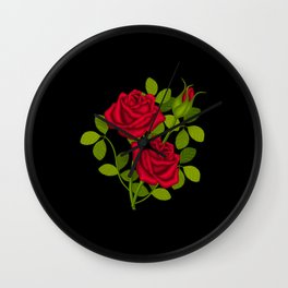 Painted Red Roses Wall Clock