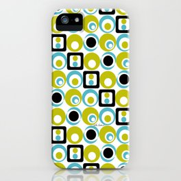 Lime Turq Black White Circles Squares iPhone Case
