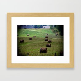 Rolls of Hay Canadian Countryside Green and Brown Print Framed Art Print