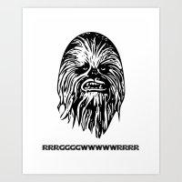 chewbacca Art Prints featuring Chewbacca by C Liza B