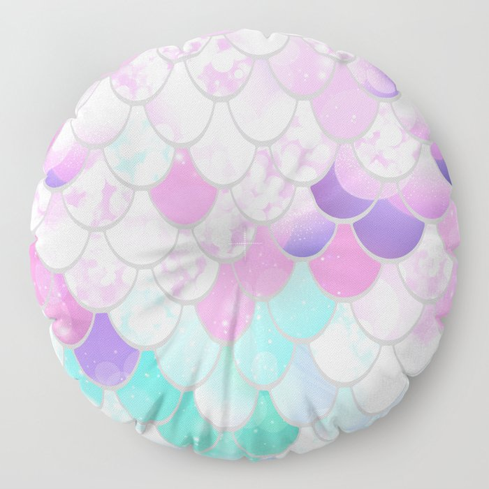 Mermaid Sweet Dreams, Pastel, Pink, Purple, Teal Floor Pillow
