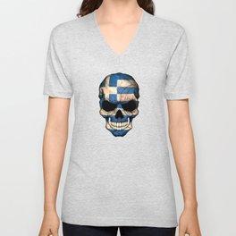 Dark Skull with Flag of Greece Unisex V-Neck
