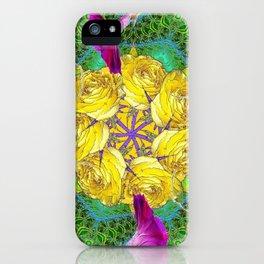 MYSTIC YELLOW ROSES MORNING GLORIES GREEN ART iPhone Case