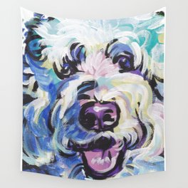 Golden Doodle Dog Portrait Pop Art painting by Lea Wall Tapestry