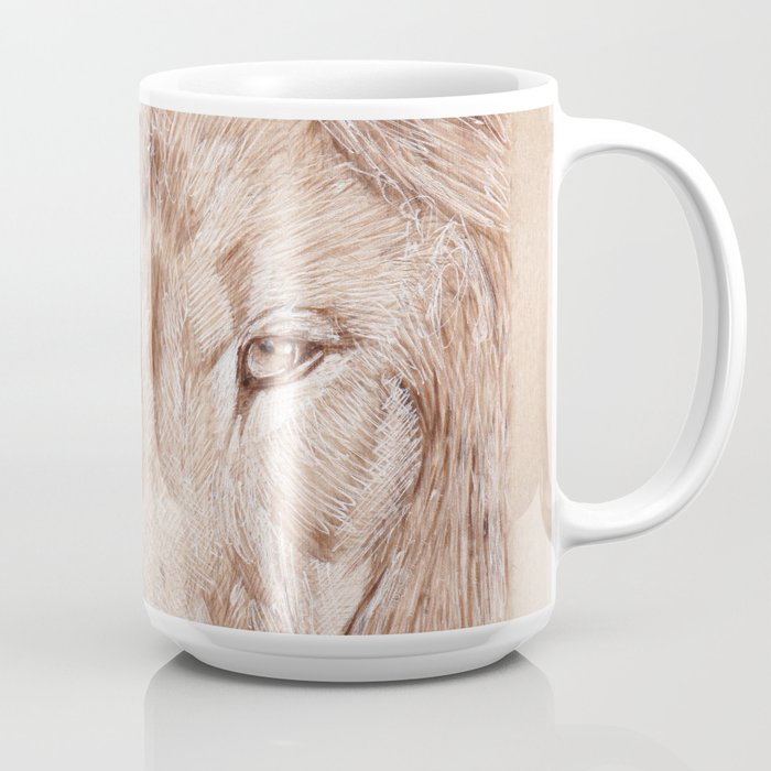 Lion Portrait Drawing By Burning On Wood Pyrography Art Coffee Mug By Moii Arts Society6