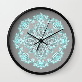 Teal and Aqua Lace Mandala on Grey Wall Clock