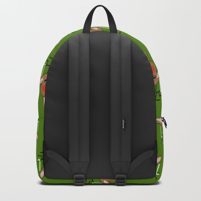 Christmas Reindeer Green Backpack