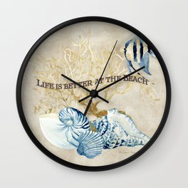 Indigo Ocean Sea Shells Angelfish Coral Watercolor Artwork Wall Clock