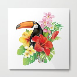 Tropical Toucan Collage Metal Print