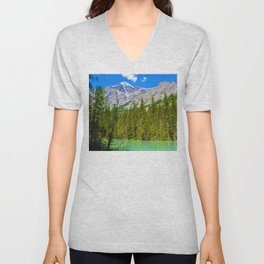 Mt. Robson and the Robson River in British Columbia, Canada Unisex V-Neck