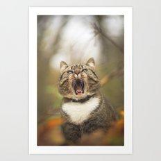 Cat roar  Art Print