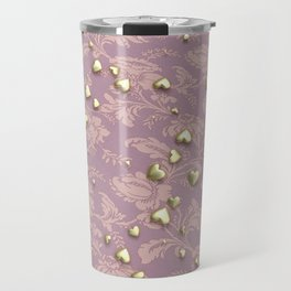 VALENTINE HEARTS - Gold Hearts & Royal Rose Tapestry Travel Mug