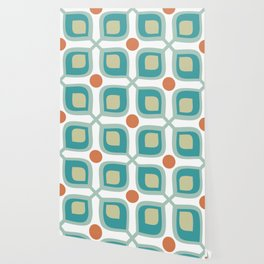 Abstract Flower Pattern Mid Century Modern Retro Turquoise Orange Wallpaper