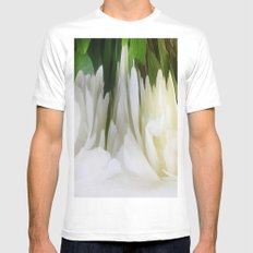 501 - White Peony Abstract Mens Fitted Tee MEDIUM White