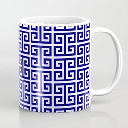 Navy and White Greek Key Pattern Coffee Mug