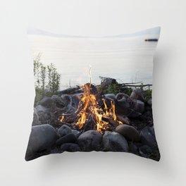 Beachside fire Throw Pillow
