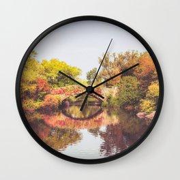 New York City Autumn Bridge Wall Clock