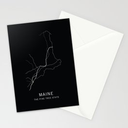 Maine State Road Map Stationery Cards