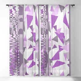 Violet Fantasy geometric stripes pattern Sheer Curtain