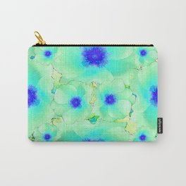 Celadon Jade Green-Blue Color Flower Pattern Carry-All Pouch