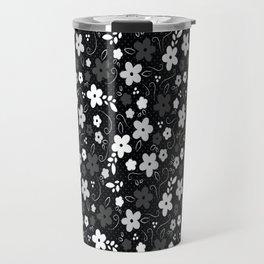 Black & White Floral Travel Mug