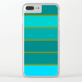 Teal Stripes Clear iPhone Case