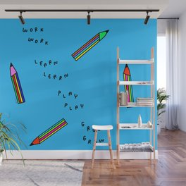 Nursery Illustration Colorful Pencils Wall Mural