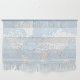 World map, highly detailed in light blue and white, square Wall Hanging
