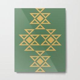 Kanatitsa - Symbol of Eternity, Peace, Protection, Prosperity | Eastern European Ornaments, Olive and Golden Colors Metal Print