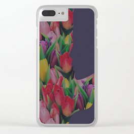 woman smelling flowers Clear iPhone Case