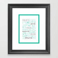 italian kitchen pasta Framed Art Print