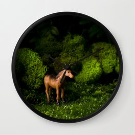 A Small Brown Horse in the Valley Wall Clock