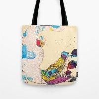 crocodile Tote Bags featuring Crocodile by DON'T NEED NO SAMURAI