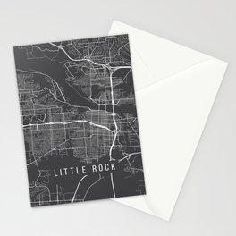 Little Rock Map, Arkansas USA - Charcoal Portrait Stationery Cards