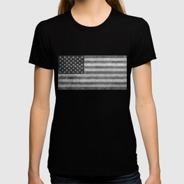 American flag - retro style in grayscale T-shirt