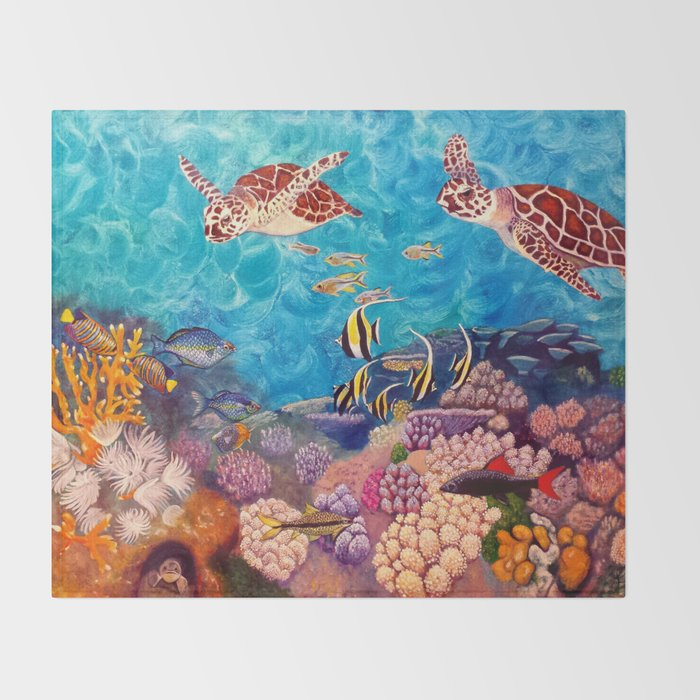 Zach's Seascape - Sea turtles Throw Blanket