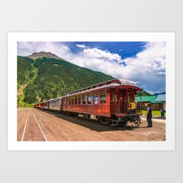 Durango and Silverton Narrow Gauge Railroad and Mountain Landscape Art Print