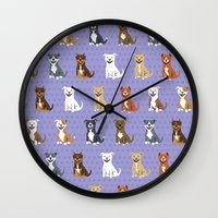 pit bull Wall Clocks featuring American PIT BULL TERRIERS by DoggieDrawings