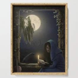 Reading in the moonlight Serving Tray