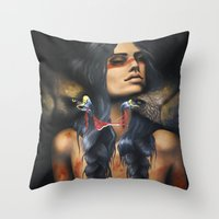 running Throw Pillows featuring Running Eagle by Chelsea Brown