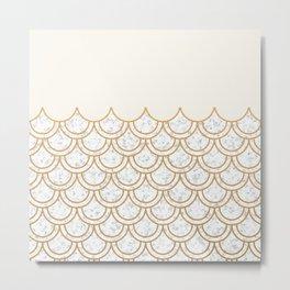 Modern minimalist marble cream & gold fish scales pattern Metal Print