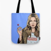 kate moss Tote Bags featuring Kate Moss  by guissëpi
