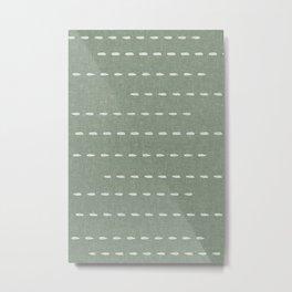 boho stitched stripes - sage Metal Print